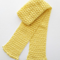 Yellow Crochet Cotton Scarf For Spring or Summer Ready to Ship