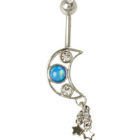 14G Steel Moon Cutout Star Dangle Navel Barbell
