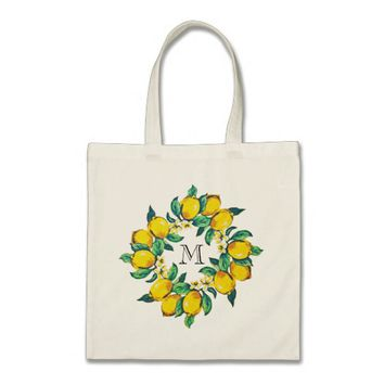 Watercolor Lemon Monogrammed Bridal Shower Favour Tote Bag