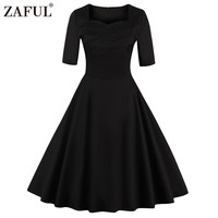 ZAFUL Women Vintage Dress 50s Robe Rockabilly Retro Short sleeve Solid Black Party Woman Dresses Ball Gown Feminino Vestidos