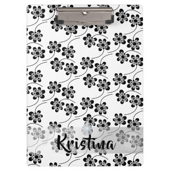 Monochrome Floral Pattern Clipboard