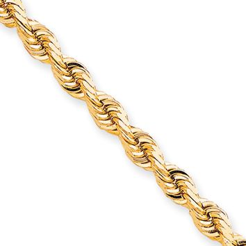 Men's 7mm 10k Yellow Gold Diamond Cut Solid Rope Chain Necklace, 20in