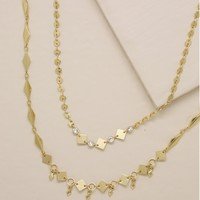 Mixed Shape and Crystal Choker Set in Gold
