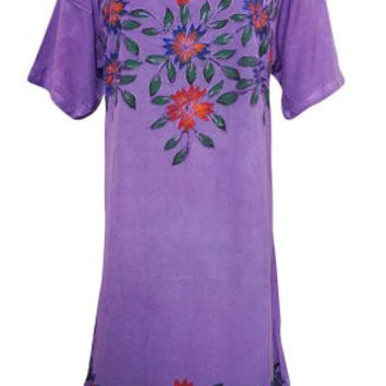 Beach Dress Purple Embroidered Rayon Hippie Gypsy Sundress M