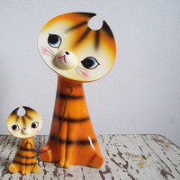 Vintage tiger figurines flat face tigers 1960s Made in Japan porcelain figurines with chain.