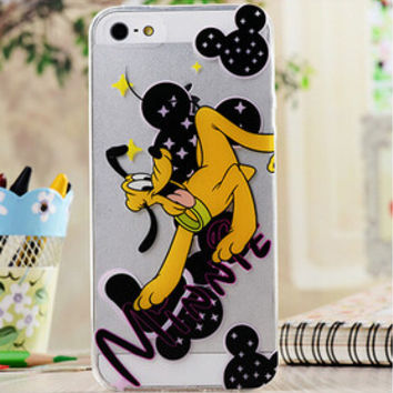 Cute Minnie Mouse & Pluto Cartoon TPU Transparent Soft Phone Back Case Shell Cover for iPhone 5 5S SE