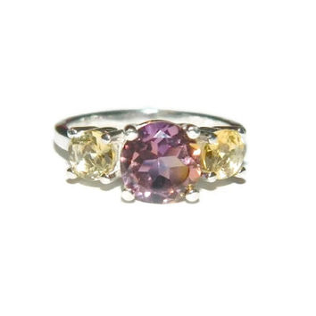 Ametrine Ring, Citrine Ring, Sterling Silver Three Stone Ring, Ametrine Quartz Ring