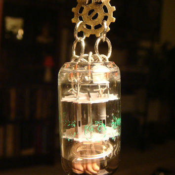 Steampunk Vintage Vacuum Tube Necklace with Gears (1306)