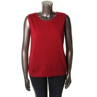 August Silk Womens Plus Knit Sleeveless Pullover Sweater
