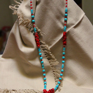 Turquoise Cross, silver beads, turquoise beads, red Coral beads, Southwestern
