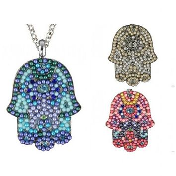 Beaded Hamsa Necklace In Colors