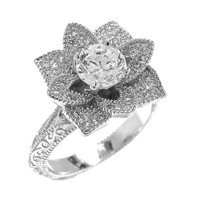 Blooming Lotus Vintage Inspired Engagement Ring