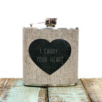 Flask 6 oz Stainless Steel I Carry Your Heart on by whimsyandink
