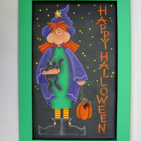Folk Art Tall Witch Tole Painted and Framed in Bright Green