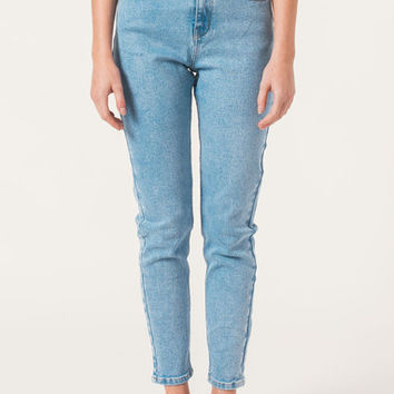 Afends Luckies - High Waisted Slim Jeans - Stone Blue