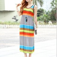 Rainbow Colorful Stripe Pattern Drawstring Waist Tank Ankle Dress 2 Colors