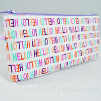 "Multicolor fun pastel clutch, pencil case, makeup brush bag, zipper pouch ""Hello!"""