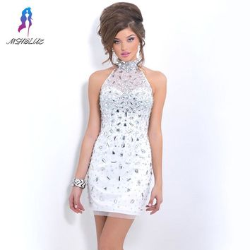 Sexy Short Straight Cocktail Dresses Luxury Sparkle Rhinestones Beaded High Neck Homecoming Graduation Party Dress