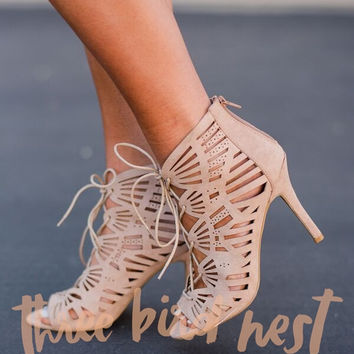 Laced Peep Toe Cage Heels in Taupe