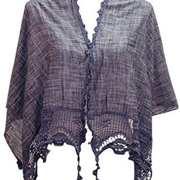 Rosemarie Collections Women's Bohemian Chic Crochet Shawl Navy