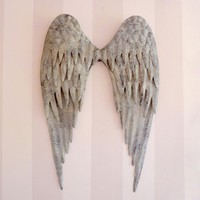 Lovely  Distressed Metal Angel Wings in Grey