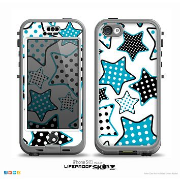 The Blue Polkadotted Vector Stars Skin for the iPhone 5c nüüd LifeProof Case