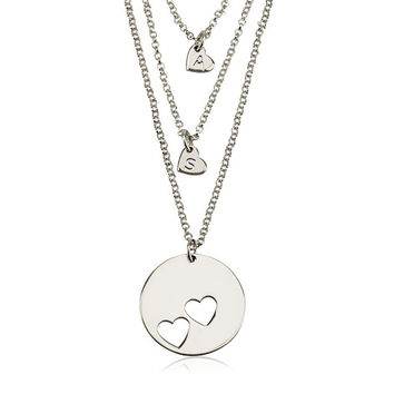 Piece Of My Heart Necklace Set - Silver