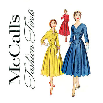 1950s Fashion Firsts Dress Pattern Bust 32 McCalls 9497 Rare 1953 Box Pleat Dress with Baque Waist Double Breasted Military Style Bodice