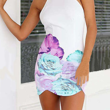 Floral Dress Spring - White Spaghetti Strap Backless Hibiscus Floral Dress
