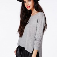 Missguided - Ester Step Hem Fine Knit Jumper In Grey