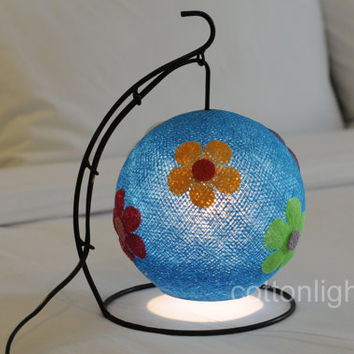 Blue flower  lamp lantern bed head lamp handmade display light home present decor boy room