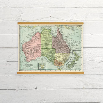 Vintage Map Of Australia Canvas Poster Print Wooden Wall Chart