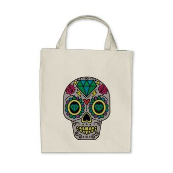 Colorful Flower Sugar Skull Grocery Tote Bag