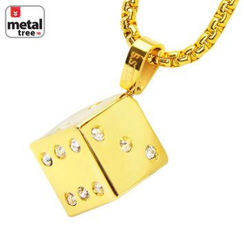 """Jewelry Kay style 14k Gold Plated Stainless Steel 3D Dice Pendant 24"""" Box Chain Necklace SCP 173 G"""