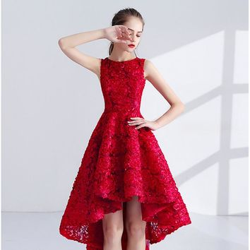 Girls Sleeveless O-Neck Flower High Low Prom Gowns Elegant Party Dresses Formal Dresses