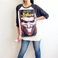 The Joker Classic Movie Comics Baseball T Shirt Raglan Long Sleeve Shirts Size S