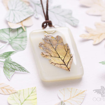 oak leaf glass necklace - fall autumn leaf, handmade ivory pendant - leaf pendant-holiday gift-free gift box