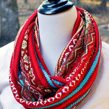 Red and Turquoise Multi Colored Striped Bright Ikat Infinity Scarf