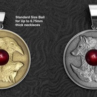 Wolf and Struck Coin In Stainless Steel Bezel Setting - Choose From 2 Coin Finishes & 2 Bail Sizes