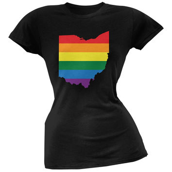 Ohio LGBT Lesbian Pride Rainbow Black Juniors Soft T-Shirt