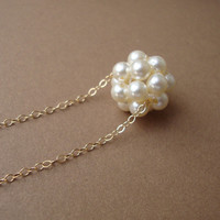 Pearl Cluster Necklace, Swarovski Pearls, Gold Filled, Bridal, Bridesmaids, Wedding Fine Jewelry, Romantic Bride