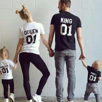 New Family King Queen Letter Print Shirt,100% Cotton