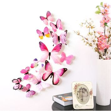 12 pcs/set 3D Butterfly Wall Stickers Home DIY Decor Wall Decals For Living Room Bedroom Kitchen  Toilet  Kids Room Decorations