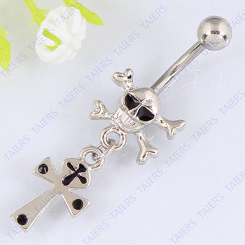 Skull dangle Cross belly button ring body piercing Woman jewelry Navel ring belly bar 14G 316L surgical steel bar Nickel-free