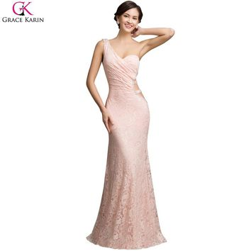 Special Back Design Grace Karin Sexy Backless One Shoulder Pink Mermaid Prom Dresses Lace Long Prom Dresses Formal Dress A7542