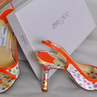 Sandals Jimmy Choo Shoes Polkadot 1996 Slingback Vintage Womens Pumps High Heels Leather Colors Size 36 Made in Italy