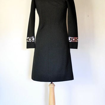 60s Mod Black Knit Dress