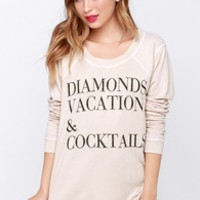 Chaser Diamonds Vacation Beige Sweater