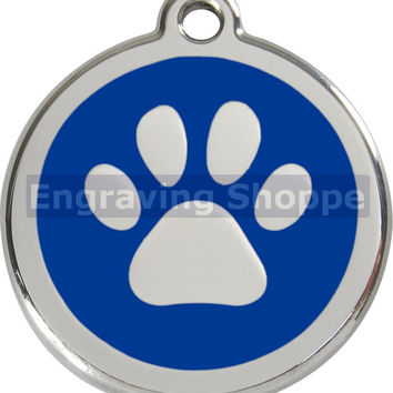 Paw Print Enamel and Stainless Steel Personalized Custom Pet Tag with LIFETIME GUARANTEE ID Tag Dog Tags and Cat Tags Free Engraving