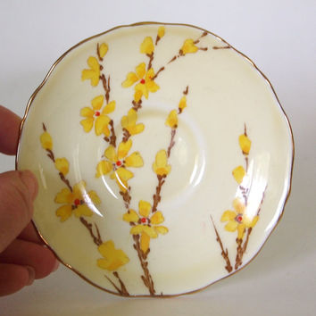 Crown Staffordshire Hand Painted Fine Bone China Teacup and Saucer - Yellow Floral - England